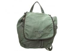 PRADA(プラダ) リュックサック - ダークグリーン×黒 刺繍 ナイロン