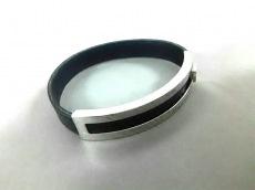 エルメス バングル美品  プスプス レザー×金属素材 黒×シルバー