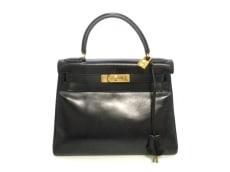 HERMES(エルメス) ハンドバッグ ケリー28 黒 ゴールド金具/内縫い