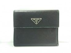 PRADA(プラダ) 3つ折り財布 - 黒 レザー