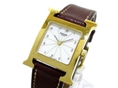 エルメス 腕時計 Hウオッチ HH1.201 レディース 革ベルト/□G 白