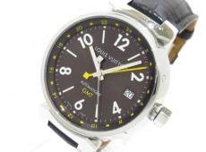 ヴィトン 腕時計 タンブールGMT Q1131 メンズ SS/アリゲーターベルト