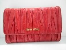 ミュウミュウ 3つ折り財布 ギャザーウォレット 5M1097 レッド レザー