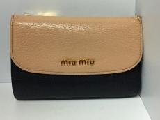 ミュウミュウ 3つ折り財布美品  - 5M1225 黒×ベージュ レザー