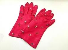 ルルギネス 手袋 レディース ピンク×ライトグリーン×ブルー レザー