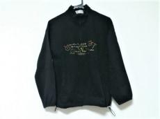 アダバット 長袖カットソー レディース 黒×マルチ ハーフジップ