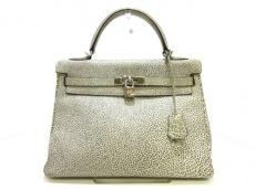 エルメス ハンドバッグ ケリー32 白×黒 内縫い/シルバー金具