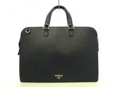 プラダ ビジネスバッグ美品  - 2VE078 ネイビー サフィアーノレザー