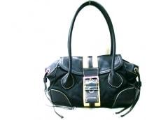 PRADA(プラダ) ハンドバッグ - 黒×ベージュ レザー×ナイロン