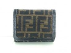 FENDI(フェンディ) 3つ折り財布 ズッカ柄 ブラウン×ダークブラウン