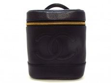シャネル バニティバッグ キャビアスキン A01998 黒 ゴールド金具