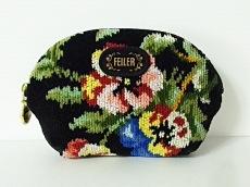 FEILER(フェイラー) ポーチ 黒×グリーン×マルチ 花柄 パイル