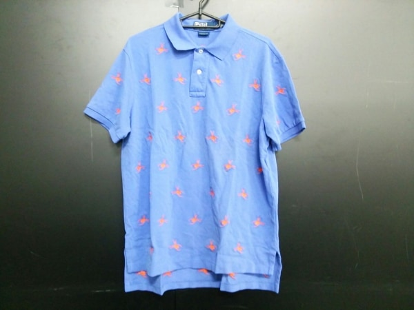 ポロラルフローレン 半袖ポロシャツ LL メンズ ブルー×オレンジ 0