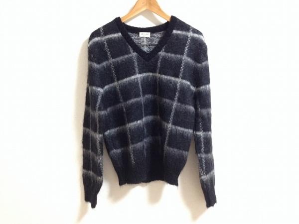 サンローランパリ 長袖セーター M レディース 黒×ライトグレー 0