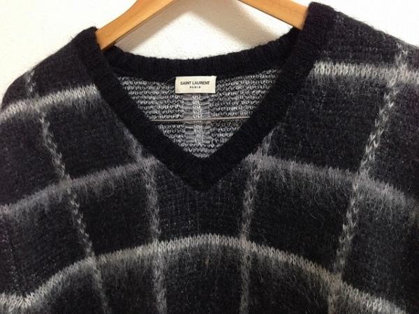 サンローランパリ 長袖セーター M レディース 黒×ライトグレー 5