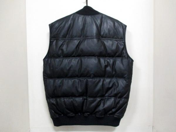 グッチ ダウンベスト 50 メンズ 美品 黒 ラムレザー/春・秋物 2