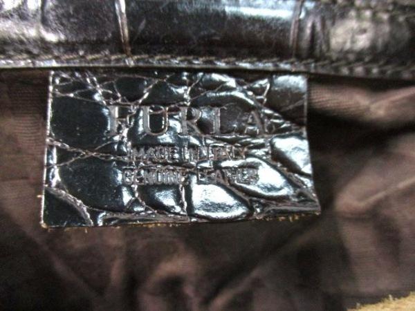 フルラ トートバッグ 黒 型押し加工 レザー FURLA 6