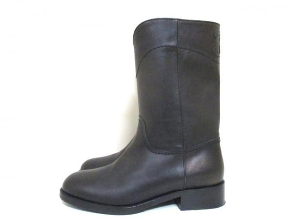シャネル ブーツ 36 1/2 レディース 美品 G26068 ダークブラウン 2