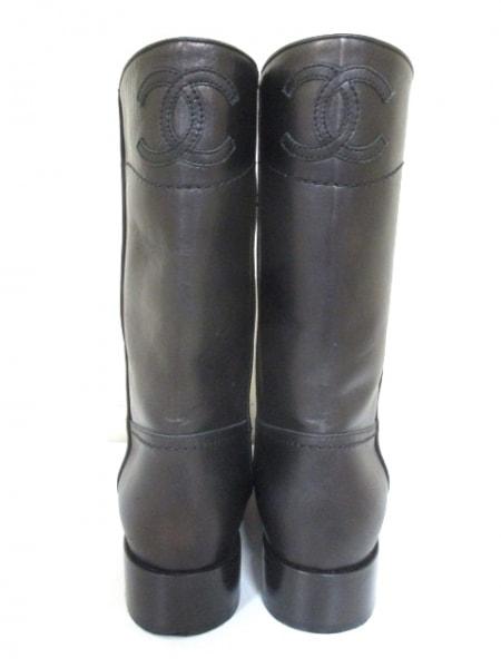 シャネル ブーツ 36 1/2 レディース 美品 G26068 ダークブラウン 3