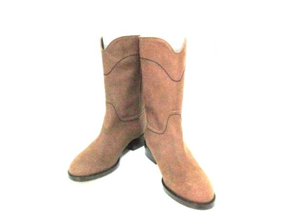 シャネル ブーツ 36 1/2 レディース 美品 G26068 ブラウン 0