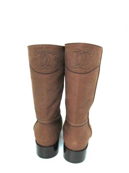 シャネル ブーツ 36 1/2 レディース 美品 G26068 ブラウン 3