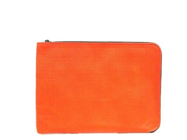 タスティング バッグ 美品 オレンジ×ダークブラウン レザー 0