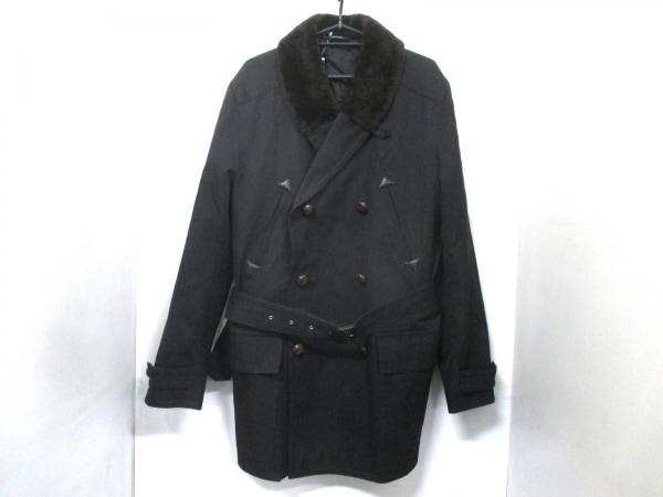 エルメス コート 50 メンズ 美品 黒×ダークブラウン HERMES 0