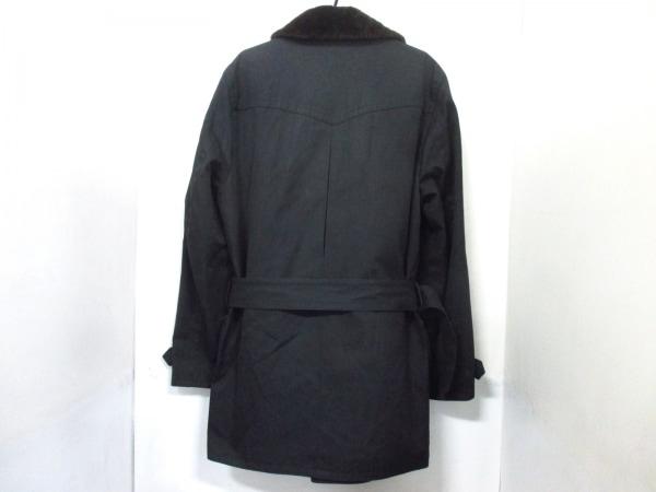 エルメス コート 50 メンズ 美品 黒×ダークブラウン HERMES 2
