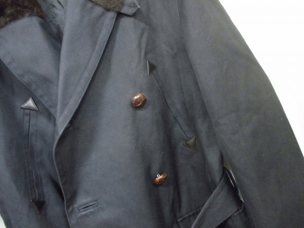 エルメス コート 50 メンズ 美品 黒×ダークブラウン HERMES 6