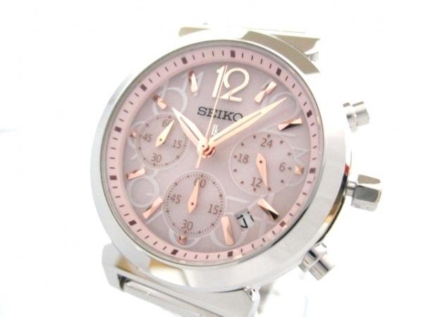 セイコー 腕時計 美品 V175-0AJ0 レディース クロノグラフ/ラメ 0
