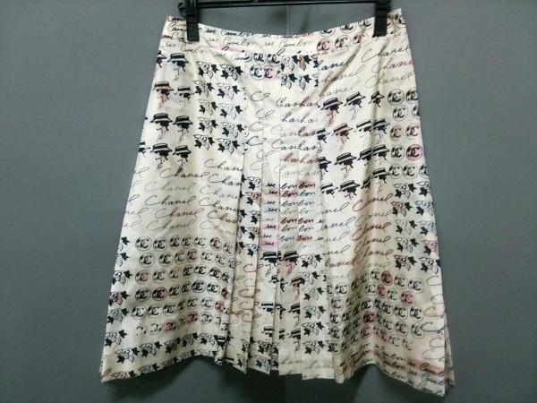 シャネル スカート 38 レディース 美品 ピンク×黒×ブラウン 0