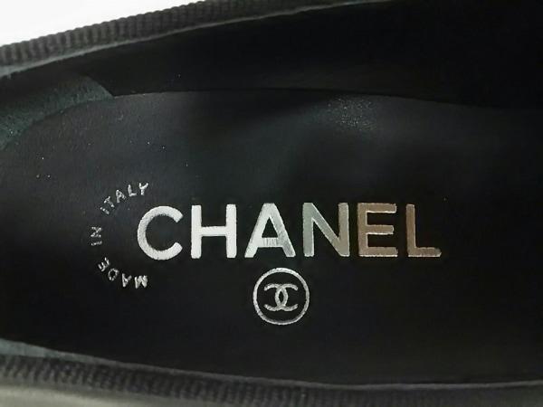 シャネル パンプス 36 1/2 レディース 美品 黒 リボン レザー 5
