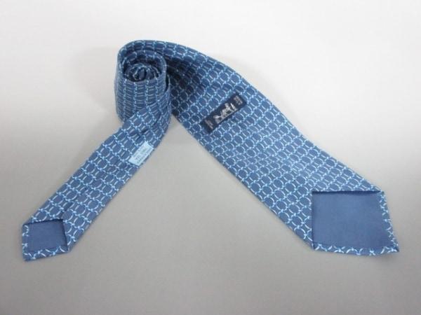 エルメス ネクタイ メンズ ブルー×ライトブルー HERMES 2