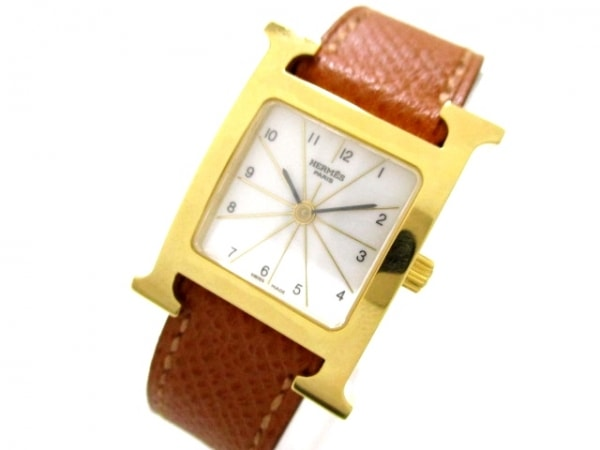 エルメス 腕時計 美品 Hウォッチ HH1.201 レディース □J 白 0