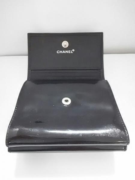 シャネル Wホック財布 - 黒 エナメル(レザー) CHANEL 8