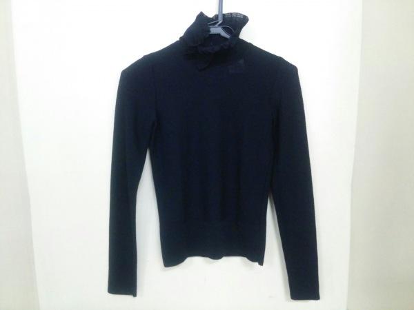 シャネル 長袖セーター サイズ34 S レディース 黒 ハイネック/リボン 0
