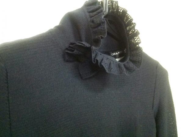 シャネル 長袖セーター サイズ34 S レディース 黒 ハイネック/リボン 6
