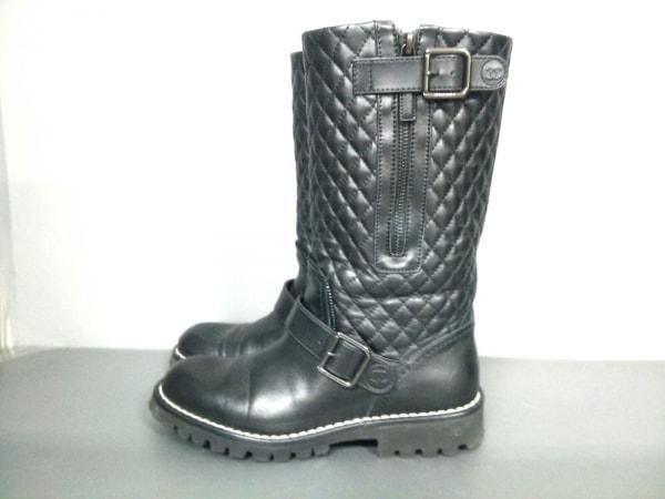 シャネル ブーツ 36 レディース マトラッセ G28566 黒 CHANEL 2