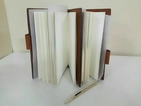アニヤハインドマーチ 手帳 美品 ダークブラウン×マルチ レザー 3