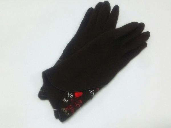 ルルギネス 手袋 レディース 新品同様 刺繍 ウール×ナイロン 0