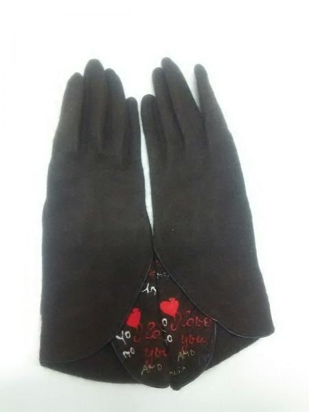 ルルギネス 手袋 レディース 新品同様 刺繍 ウール×ナイロン 2