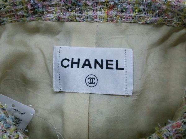 シャネル ジャケット レディース 白×ピンク×マルチ CHANEL 3