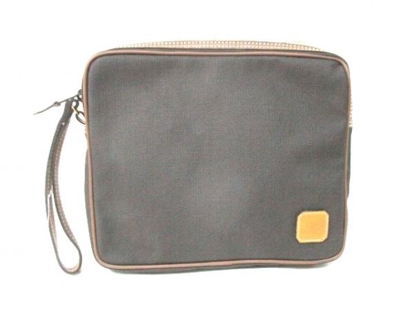 ダンヒル セカンドバッグ 黒×ブラウン PVC(塩化ビニール)×レザー 0
