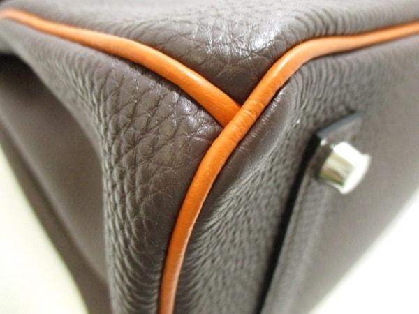 エルメス ハンドバッグ美品  バーキン35 ショコラ×オレンジ トゴ 6