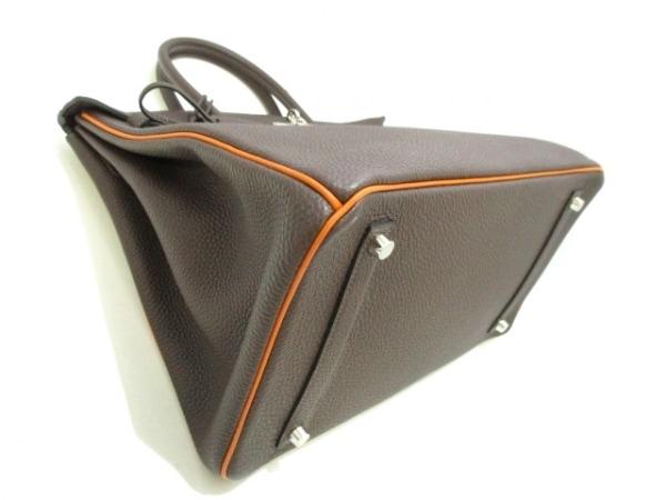 エルメス ハンドバッグ美品  バーキン35 ショコラ×オレンジ トゴ 8