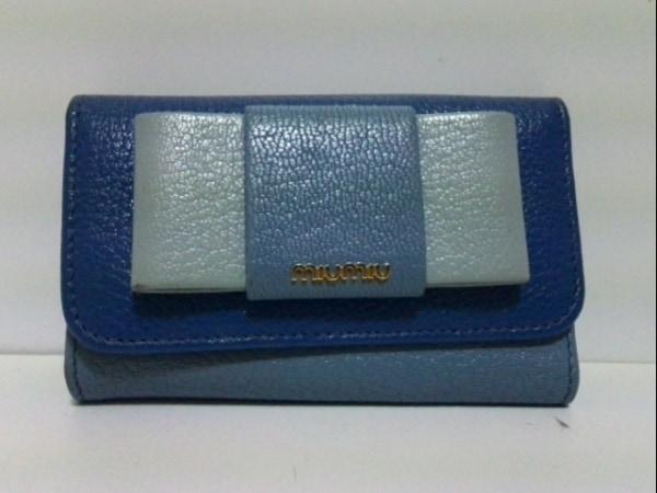 ミュウミュウ キーケース - 5PG222 ブルー×ライトブルー 6連フック 0