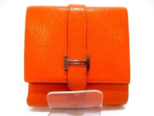 エルメス 2つ折り財布 ベアンコンパクト オレンジ 新型シルバー金具 0