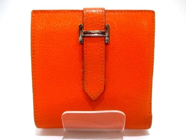 エルメス 2つ折り財布 ベアンコンパクト オレンジ 新型シルバー金具 2