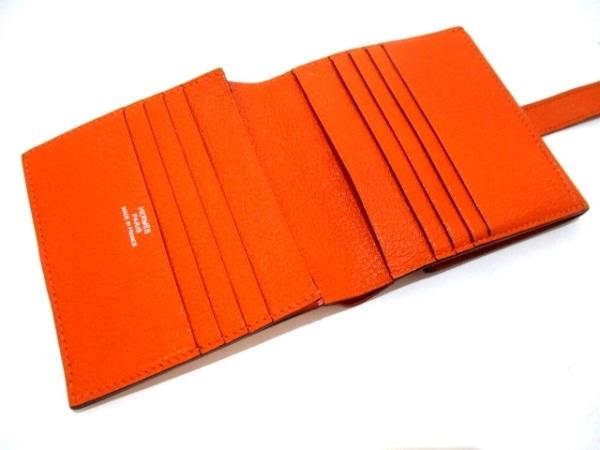 エルメス 2つ折り財布 ベアンコンパクト オレンジ 新型シルバー金具 3