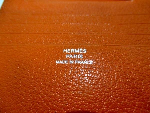 エルメス 2つ折り財布 ベアンコンパクト オレンジ 新型シルバー金具 5